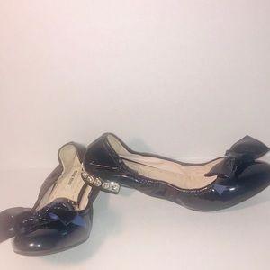 Miu Miu Shoes - Miu Miu Swarovski Crystal Heel Bow Patent Flats